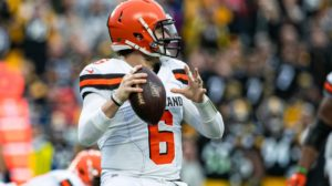 Baker Mayfield throwing on Thursday –...